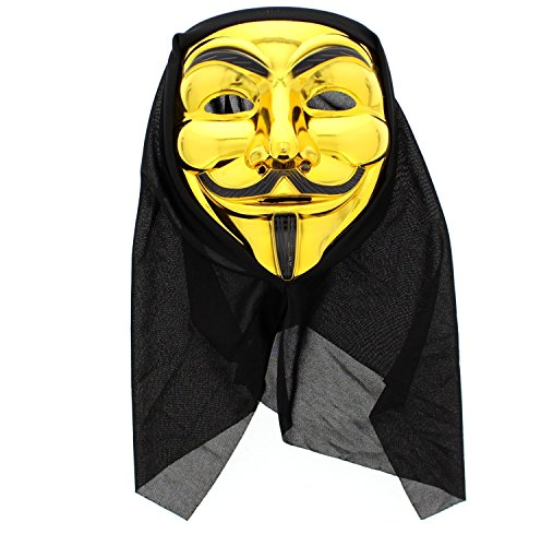 Zac's Alter Ego® Anonymous Guy-Fawkes-Maske mit schwarzem Tuch zur Kopfbedeckung (Guy Fawkes-maske Die)