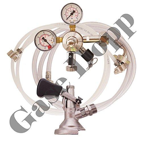 C02 Druckminderer 1 leitig 3 Bar + Bier und CO2 Schlauch + Flach Keg - im Set für Bier Zapfanlagen / Durchlaufkühler / CO2 Flasche von Gase Dopp