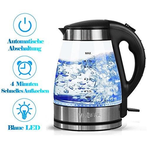 Glas Wasserkocher - Elektrische Wasserkessel Teekocher 1,7 L mit blaue LED Beleuchtung, 2200W abnehmbar kabellos Wasserkocher mit automatische Abschaltung Überhitzungsschutz schwarz