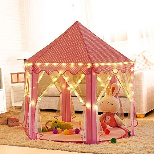Outdoor Innen Princess Castle Play Zelten, shayson Große Playhouse Kinder mit 100 LED Lichter USB für Festival Fairy Princess Castle Zelt, neuestes Design, extra große Räume - play tent+ 100 light