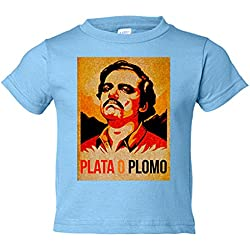 Camiseta niño Narcos Pablo Escobar Plato o Plomo - Celeste, 3-4 años