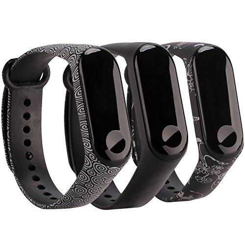 Moretek für Xiaomi Mi Band 3 Armband,Silikon Wasserdichtes Ersatz-Armband Ersatzband Bracelet für Xiaomi Mi Band 3 Fitnessarmband Zubehör (Black/Yun/SilverFlower 3pcs)