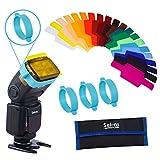 Selens Flash Gels Filter Universal Lighting Gel Filters Kit Set for Camera Flash Speedlite with 3 Gel-bands