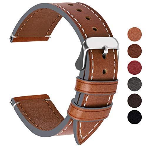 Fullmosa Ersatz Armbänder für Uhr in 6 Farben, Wax Series Echtes Leder Uhrenarmband 24mm/Watch Band für Damen&Herren,Dunkelbraun + Silber Schnalle (Frauen Uhr Cartier)