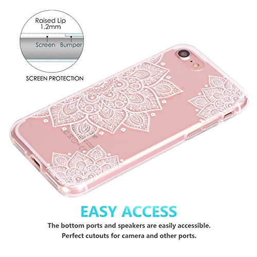 iPhone 7 Hülle, JIAXIUFEN TPU Silikon Schutz Handy Hülle Handytasche HandyHülle Etui Schale Schutzhülle Case Cover für Apple iPhone 7 / iPhone 8 - Rose Flower Floral Half