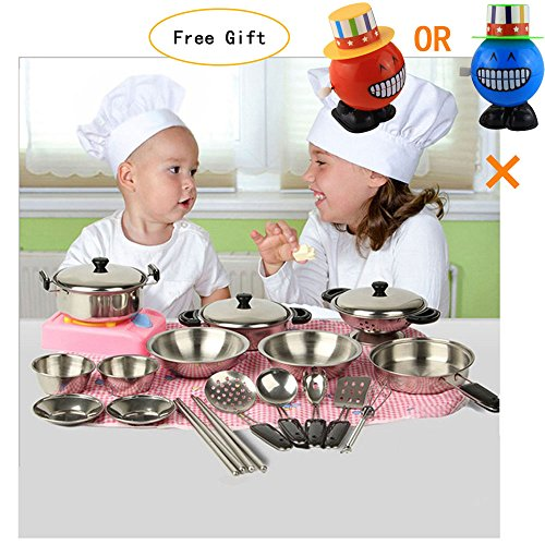 Hotsellhome My First Play Kitchen Toys Pretend Cooking Toy Cookware Miniature Playset Toy Gift for Kids - 20Pcs Stainless Steel Pots and Pans with Cooking Utensils -Dishwasher Safe