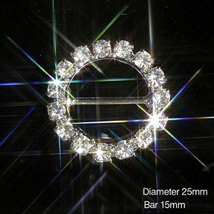 10x, con decorazioni nastro Slider fibbia grado A, con strass e cristalli matrimoni - Diamante Del Nastro Scorrevole