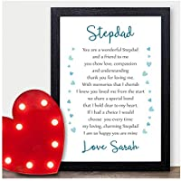 Personalised Step Dad Fathers Day Poem Gifts for Best Step Dad Daddy Presents - Stepdad Step Father Thank You Gifts Presents Fathers Day - A5, A4, A3 Prints and Frames - 18mm Wooden Blocks
