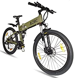 LLobe Erwachsene 26 Zoll Alu Falt Mountain E-bike Sport Olivegrün, One Size