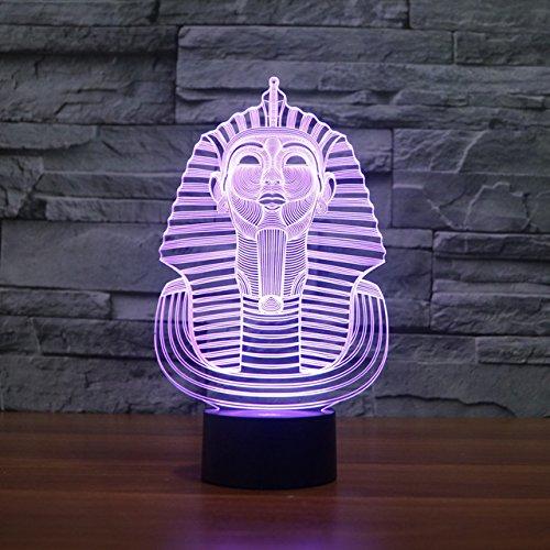 3d Illusion Egipto esfinge Faraon Lámpara luces de la noche ajustable 7 colores LED 3d Creative Interruptor táctil estéreo visual atmósfera mesa regalo para Navidad