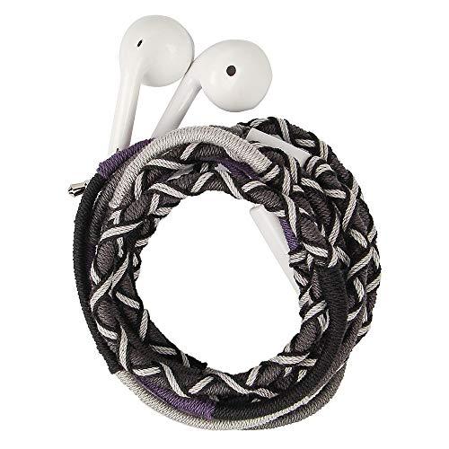 URIZONS Kopfhörer in Ears, In-Ohr Kopfhörer mit Mikrofon und Fernbedienung Handgefertigte Stoff Geflochtene Tribe Thread Wrapped Armband Style - Mit Geflochten Kopfhörer Mikrofon