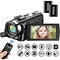 Video Camera Camcorder Mildsix Full HD 1080P Vlogging Camera For YouTube 3.0 Inch 270 Degrees Rotatable Screen LED Fill Light 16X Digital Zoom Digital Camera With 2 Batteries,Support Microphone