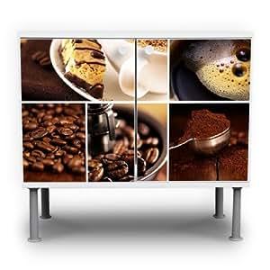 Miomare meuble sous lavabo design bleu clair 60 x 55 x 35 cm (motif café &chocolat