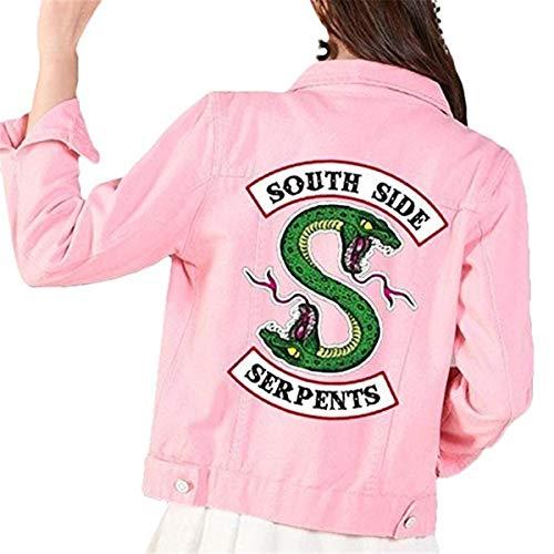 FAIRYRAIN Riverdale Southside Serpents Denim Jacket für Teenager Mädchen Herbst und Winter Damen Jeansjacke Kostüm Jacke 12-14 Jahre/Tag S (Rosa Damen Jacke Kostüm Mädchen)