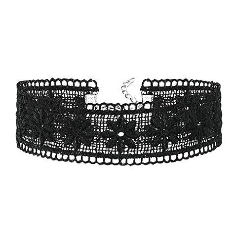 KnSam Ras du Cou Choker Collier Acier Inoxydable Fleur Chain Dentelle Argent Noir [Fille Gothique]