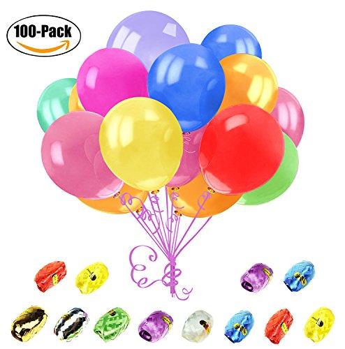 Newland 100 pcs Globos de Fiesta de Colores Diversos para Bodas, Fiestas de Cumpleaños - Globos de Latex de 30 cm,12 pcs cintas libres (Multicolor)