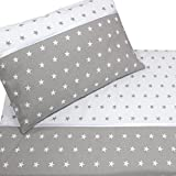 Callyna ® - Parure de lit bébé : housse de couette 120 x 90cm et taie d'oreiller 60 x 40 cm. 100 % coton. Etoile Blanc Gris. Callydéale