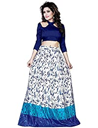 Sojitra Enterprise Women's Satin Semi-Stitched Lehenga Choli (Blue_Free Size)