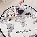 bébé Tapis de jeu, doux sur toile Coton Infant carte du monde Couverture Tapis de jeu Ramper Tapis rond en dentelle d'activité...