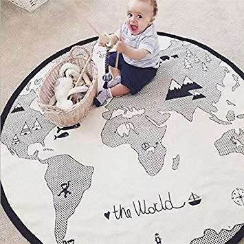 Spielmatte/Krabbelmatte/Teppich mit Weltkarte-Motiv, für Baby/Kleinkinder, weiche Leinen-Baumwolle, für Zuhause, Dekoration, Schlafzimmer, Geschenk, von lulalula (Gym-organisation Home)