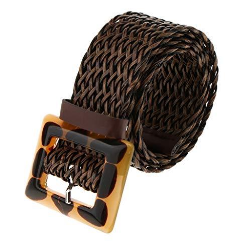 P Prettyia Cinturón de Cuero Trenzado con Hebilla Rectangular de Acrílica Ajustable para Mujer - café, tal como se describe