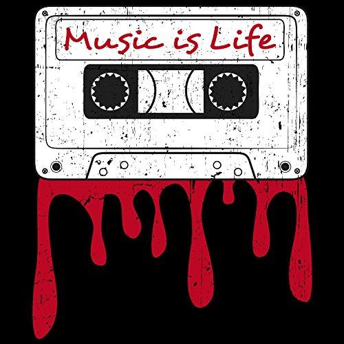 Fashionalarm Herren College Jacke - Music is Life | Varsity Baseball Jacket | Sweatjacke mit Spruch Musik ist Leben Schwarz / Weiß