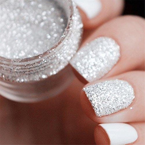 Born Pretty 10ml Boîte nail glitter poudre Blanc argenté 1mm et 2mm & 3mm Manucure Nail Art Décoration