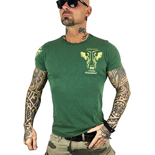 Yakuza Original Herren Happy Hour T-Shirt Dark Green Moonwashed