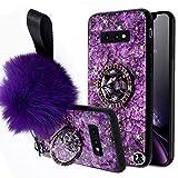 Herbests Kompatibel mit Samsung Galaxy S10e Glänzend Diamant Kristall Strass Glitzer TPU Handyhülle Ultra Dünn Handytasche Silikon Schutzhülle Mädchen Frauen mit Handy Fingerhalterung,Lila