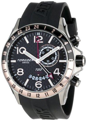 Torgoen Swiss - T20304 - Montre Homme - Quartz Analogique - Alarme/Aiguilles Luminescentes - Bracelet Plastique Noir
