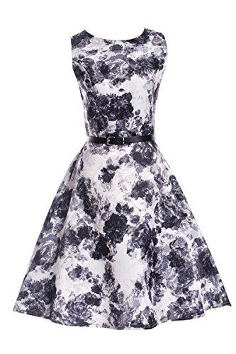 YMING Damen Elegantes Kleid A-Linie Sommerkleid Vintage Kleid Partykleider Strandkleider Cocktailkleider Weiß,Schwarz Blumen-B