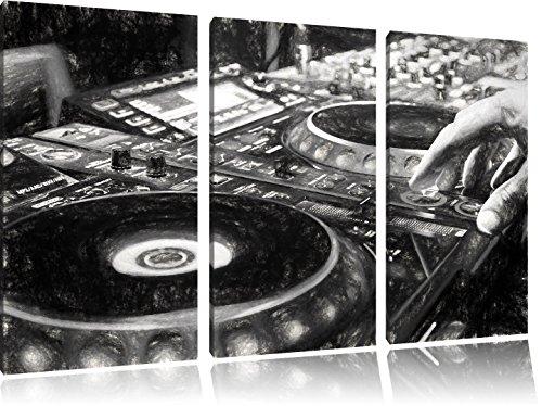 Modern-beleuchteter-DJ-Pult-Kohle-Zeichnung-Effekt-3-Teiler-Leinwandbild-120x80-Bild-auf-Leinwand-XXL-riesige-Bilder-fertig-gerahmt-mit-Keilrahmen-Kunstdruck-auf-Wandbild-mit-Rahmen-gnstiger-als-Gemld