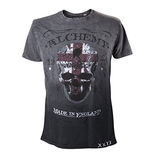 Alchemy England - The Pact Label Grey Black Skull Rock Metal gotico nuovo da spartronic grigio Small