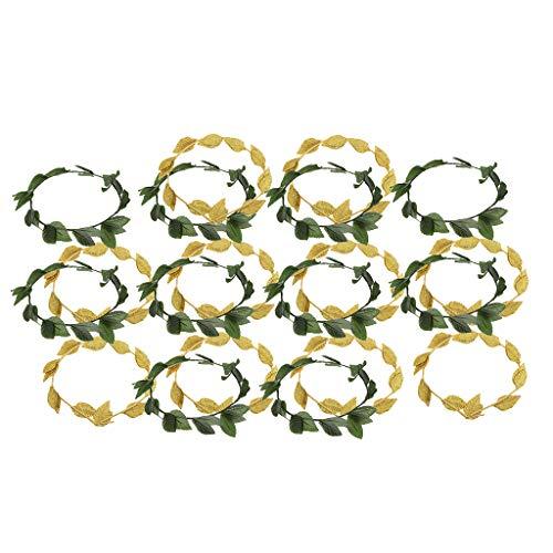 F Fityle 20 Damen Lorbeerkranz Stirnband Haarband Accessoires, Gold, Grün