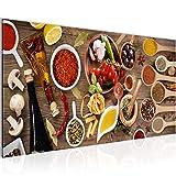 Bilder Küche - Gewürze Wandbild 100 x 40 cm Vlies - Leinwand Bild XXL Format Wandbilder Wohnzimmer Wohnung Deko Kunstdrucke Braun 1 Teilig -100% MADE IN GERMANY - Fertig zum Aufhängen 003112a