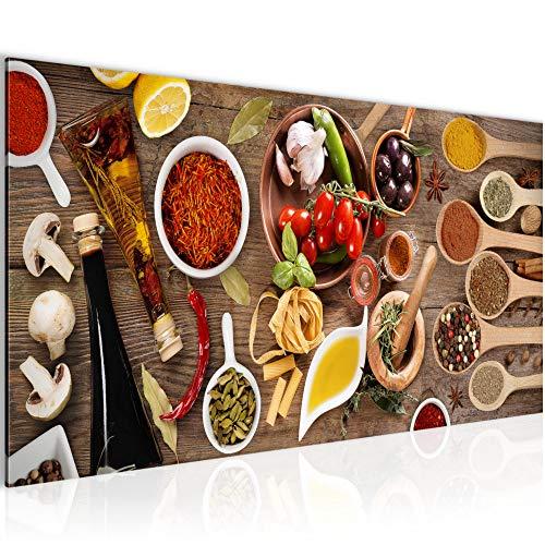 Photo Cuisine - épices Décoration Murale 100 x 40 cm Toison - Toile Taille XXL Salon Appartement Décoration Photos d'art Marron 1 parties - 100% MADE IN GERMANY - prêt à accrocher 003112a