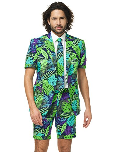 le Anzug für Herren besteht aus Sakko, Hose und Krawatte mit Urwald Print (Herren Opposuits Grünen Anzug)