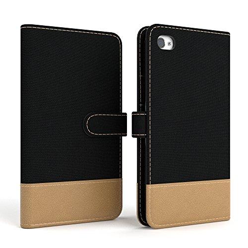 Apple iPhone 4S / 4 Tasche, EAZY CASE Book-Style Case Uni, Premium Handyhülle mit Kartenfach, Schutzhülle Geldbeutel mit Standfunktion, Wallet Case in Schwarz Schwarz - Denim