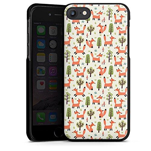 Apple iPhone 7 Plus Silikon Hülle Case Schutzhülle Fuchs Muster Füchse Comic Hard Case schwarz
