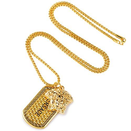 XYLUCKY Kleine Boutique ägyptischen Pharao Tag Anhänger Halskette vergoldet Metall (Gold ägyptischen Ring)