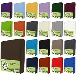 Sábanas bajeras ajustables de leevitex. Algodón 100 % en distintos tamaños y colores. Certificado de calidad Standard 100 by OEKO-TEX, 100 % algodón, marrón chocolate, 180x200 - 200x200 cm