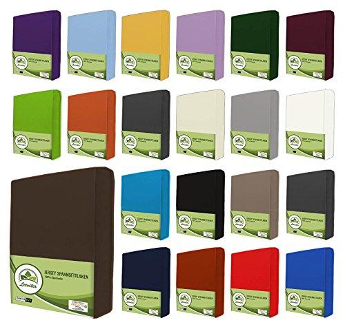 leevitex® Jersey Spannbettlaken, Spannbetttuch 100% Baumwolle in vielen Größen und Farben MARKENQUALITÄT ÖKOTEX Standard 100 | 180 x 200 cm - 200 x 200 cm - Schoko Braun