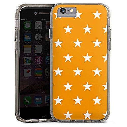 Apple iPhone 6s Bumper Hülle Bumper Case Glitzer Hülle Sterne Stars Orange Bumper Case transparent grau