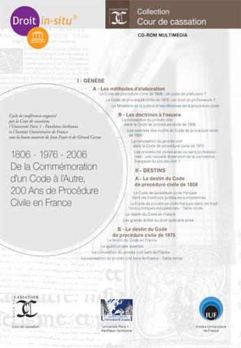 1806-1976 - 2006 De la Commémoration dun Code à lAutre, 200 Ans de Procédure Civile en France Pdf - ePub - Audiolivre Telecharger