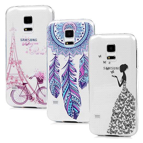 S5 Mini Handyhülle Vogu'SaNa Handytasche Kompatible mit Samsung Galaxy S5 Mini Hülle Case Cover Transparent Silikon Tasche Schutzhülle Skin Softcase Dünn Schale Bumper*3 Silikonhüllen Mädchen-S2 -