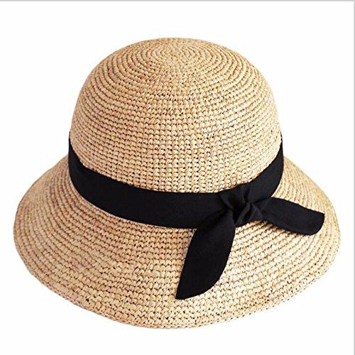 Damen Sommer Sonnenhüte Damen Panama Straw Beach Hüte Faltbare Wide Brim Floppy Fedora - UPF 50, Schwarz Wide Brim Fedora-hut