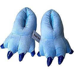 Dinosaur Claws Cotton Slippers Unisexo Otoño invierno Zapatilla Lana de coral Animal Pata Zapatos Claw Decor Dinosaurio Pantuflas de felpa(azul) (kids29-34)