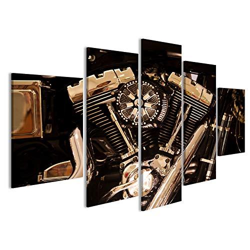 islandburner Bild Bilder auf Leinwand Motorrad-Motor Harley V2 Wandbild Leinwandbild Poster CZN (Motor Harley Teile)