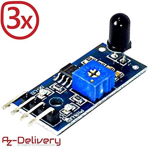 AZDelivery ⭐⭐⭐⭐⭐ 3er Set IR Flammen Feuer Sensor für Arduino -