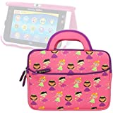 Evecase Vtech Innotab MAX 7 inch Children's Learning Tablet / Little Apps Tablet Sleeve Case, Cute Princess Themed Neoprene Travel Carrying Slim Sleeve Case Bag w/ Dual Handle and Accessory Pocket - Pink w/ Purple Trim